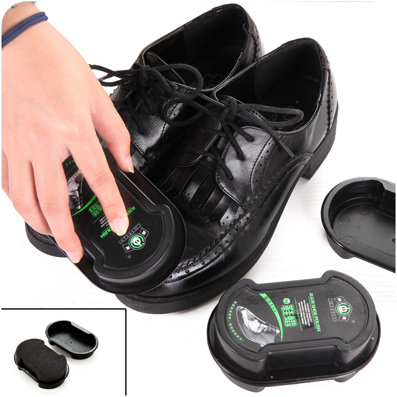 Multifunctional double-faced Leather Polishing Cleaning shoe polish Colorless light shoes rub leather care oil sponge shoe wax(China (Mainland))