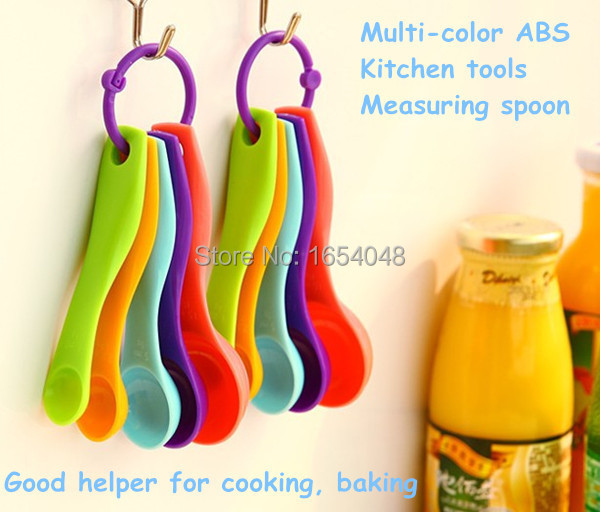 5pcs set ABS pratical kitchen tools Measuring Spoon colorful baking cooking Spoons Measuring Tools oil spice