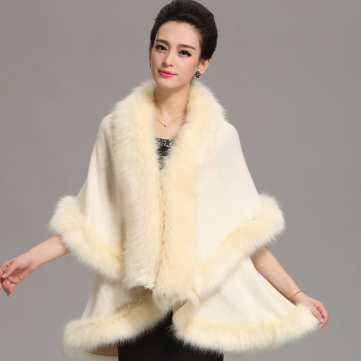 European style new coat women winter fur collar shawl cloak long section of loose sweater coat cashmere wool cape(China (Mainland))