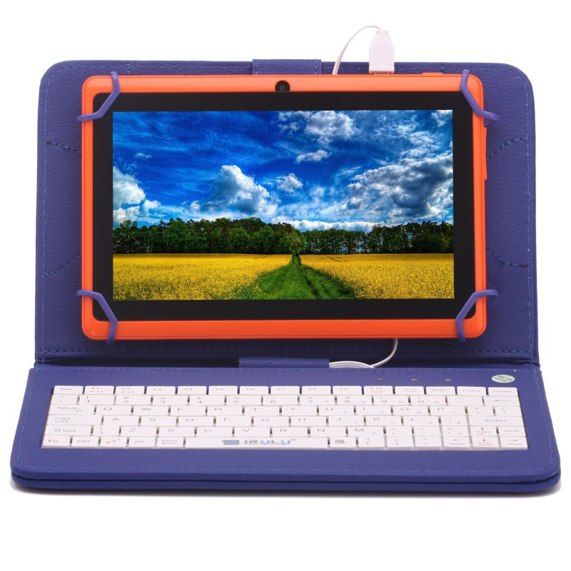 W/ Keyboard Case 7 inch Dual core Q88 android 4.2 Orange tablet pc allwinner A23 512M+16GB Dual camera of iRulu eXpro x1 Series(China (Mainland))