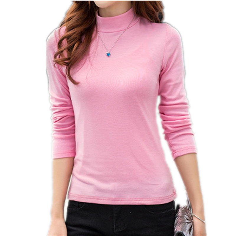 S-5XL autumn new women's Long Sleeved High Neck T Shirts Female Slim Plus Size Casual t-shirt winter cotton bottoming tops LD204(China (Mainland))