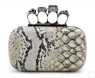 Free shipping Skull head Ring buckle Day Clutches Snakeskin pattern clutch handbag Ladies evening bag