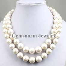"""AAA Shining 35"""" Beautiful Rare 12-13mm Large Size Perfect Round 2 Rows Freshwater Pearls Necklace Free Shipping(China (Mainland))"""