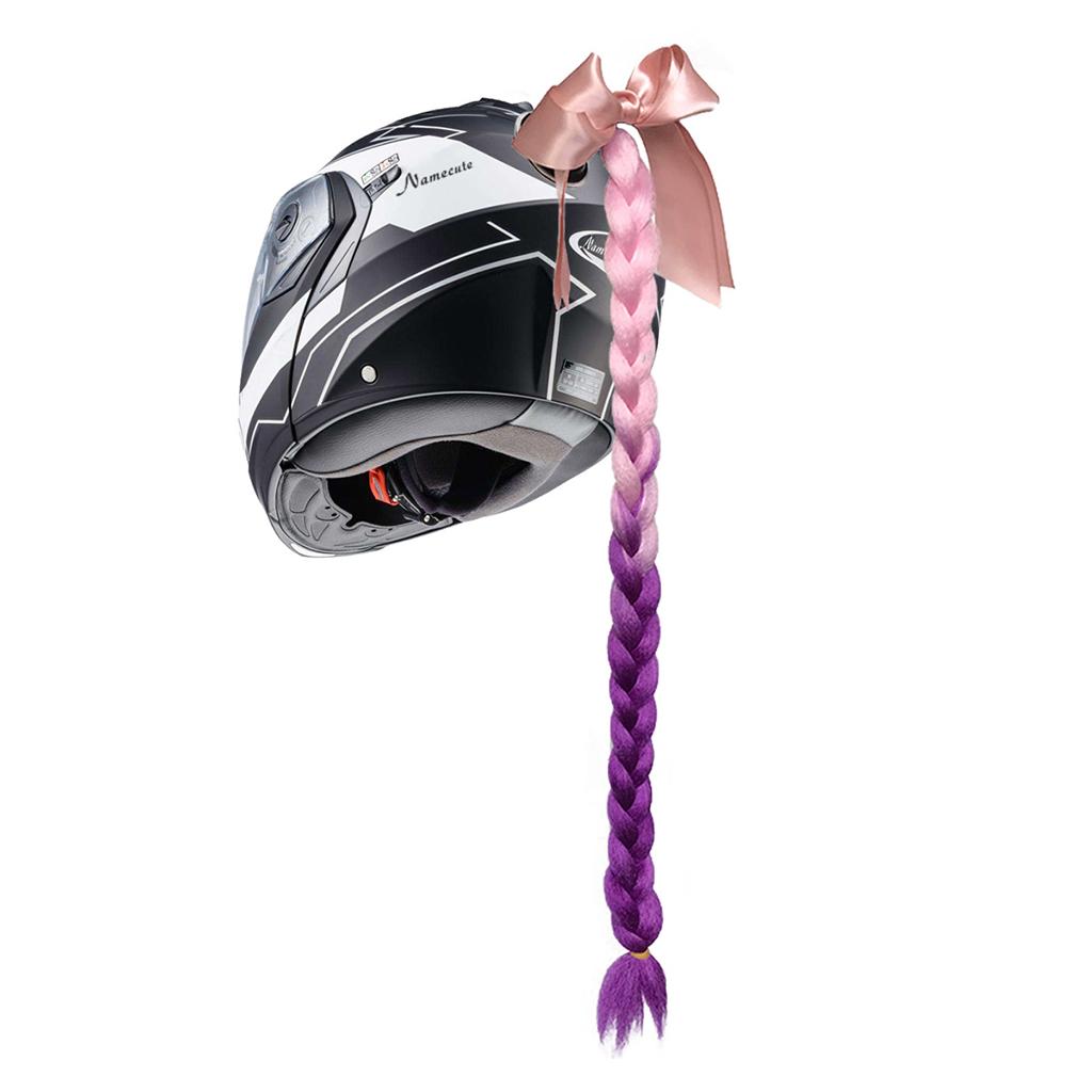 23.6\' Gradient Ramp Helmet Braids Ponytail Motorcycle Bike Helmet Hair Motorcycle Helmet Braids Woman Braids Wig 8 Colors