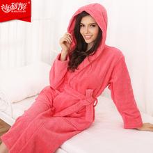 100% cotton hooded bathrobe cotton bathrobe thickening terry women cotton robe(China (Mainland))