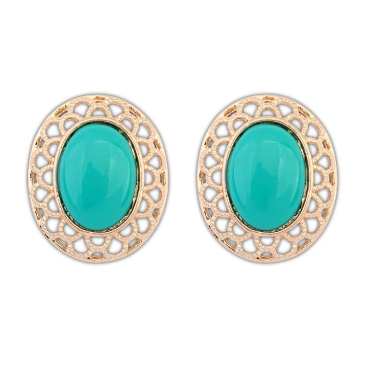 T101903 fashion sweet oval simple studs earrings ( green )3 pair/lot over $15 mixed order free shipping(China (Mainland))