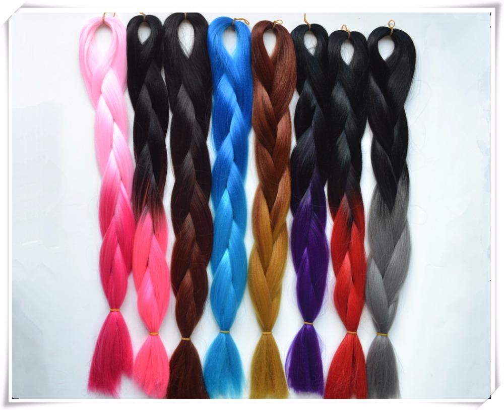 Free shipping ombre braiding hair 2 toned colour Kanekalon jumbo braiding hair 5 pieces/lot synthetic braiding hair 8 Colors(China (Mainland))