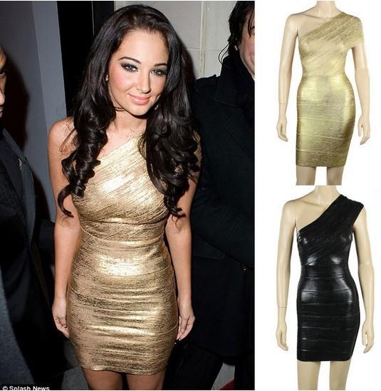 Best-Quality-Sexy-Ladies-One-Shoulder-Bandage-Dress-HL-Dress-Gold-Foil-Cocktail-Party-Dress