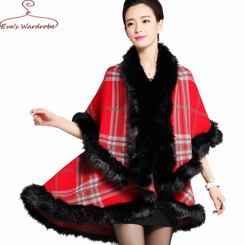 Women Cloak Faux fox fur collar Medium Long shawl Cape Plaid font b tartan b font