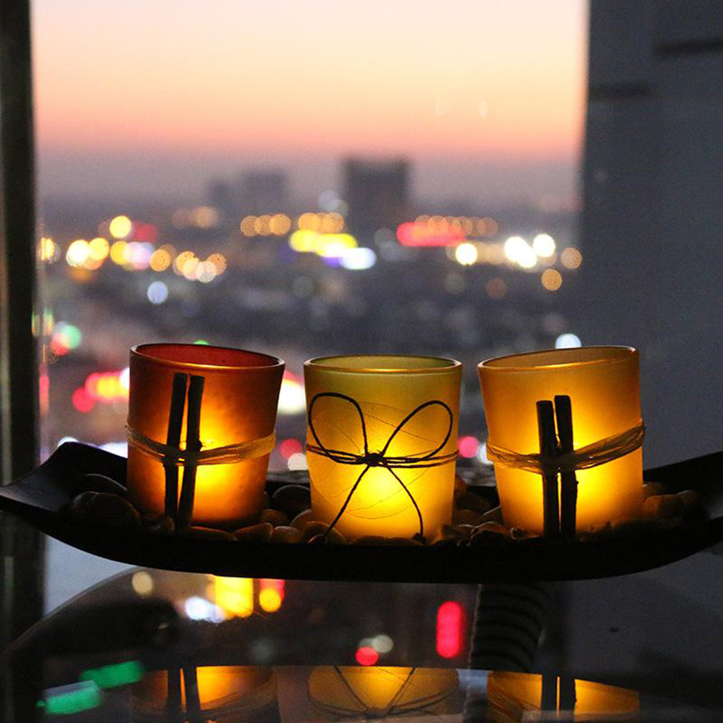 European Style Flameless LED Decorative Candle Holders Set Rocks Tray for Bathroom Dining Room Decoration