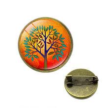 Pohon Kehidupan Bros Kaca Cabochon Laporan Pin Perhiasan Vintage Steampunk Perhiasan Hadiah untuk Wanita Perhiasan Natal(China)