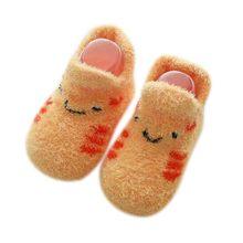 Детские носки с резиновой подошвой для новорожденных мальчиков и девочек; сезон осень-зима; детские носки-тапочки; противоскользящая обувь;...(China)