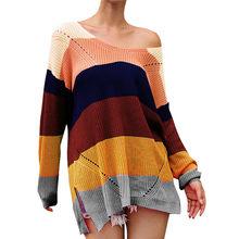 Mujer talla grande Patchwork manga larga Arco Iris rayas blusa punto suéter Top Patchwork mujer Jersey blusa Jersey(China)