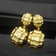זהב צבע עגיל תליון תכשיטי סטים חדש עיצוב אפריקאי נשים שרשרת אבן תליון(China)