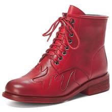 Karinluna 2019 Retro Echt Leer Paard Huid Mode Vrouw Schoenen Leren Schoenen Laarzen Mode Vrouwen Enkellaarsjes Vrouwelijke(China)