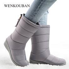 Chống Thấm Nước Mùa Đông Giày Nữ Giữa Bắp Chân Xuống Giày Nữ Ấm Áp Nữ Tuyết Bootie Nêm Cao Su Sang Trọng Botas Mujer 2019(China)
