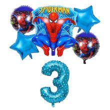 """6 pçs/lote Spiderman Foil Balões de Hélio 30 """"Número Vermelho Bola Inflável Do Partido Decoração Festa de Aniversário Crianças Brinquedos Estrela Globos(China)"""
