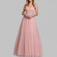 Платье для свадебной вечеринки, розовое длинное Сетчатое платье на молнии с треугольным вырезом без рукавов, летние платья 2020(China)