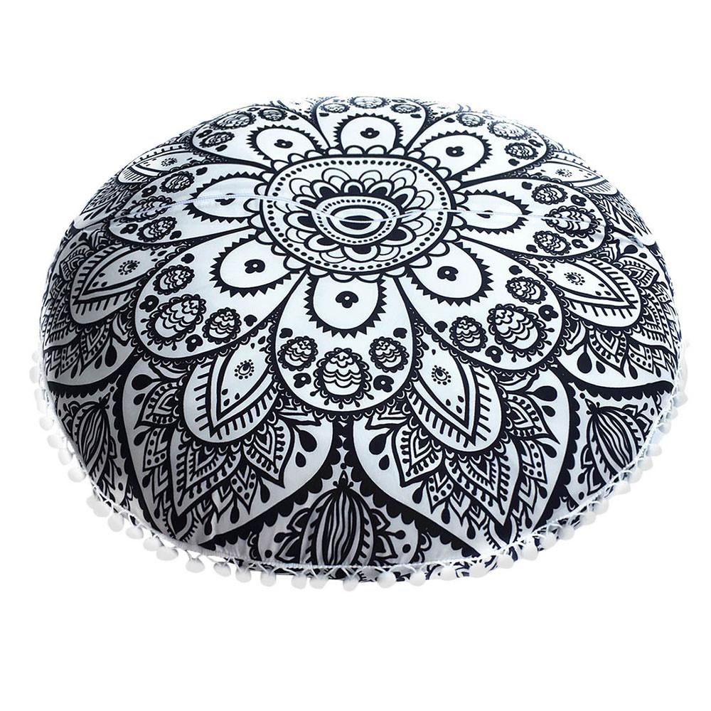 Feito À Mão Indiano Redondo Pavão Mandala Piso Capa De Almofada Boêmio Fronha