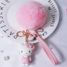 Novo Olá Gatinho Fofo KT gato coelho Pompom Pele Bola chaveiro bonito chaveiro para As Mulheres Para O Carro ou Sacos detentor da chave Do Anel Jóias(China)