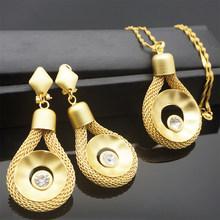 Gold farbe ohrring anhänger schmuck setzt neue design für afrikanische frauen halskette stein anhänger(China)
