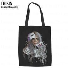 Billie THIKIN Eilish Girassol Mulheres Canvas Tote Rapper Estrela Impressão Ombro Ocasional Saco de Compras de Compras Sacos De Mão para Mulheres(China)