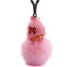 Novo estilo de dormir bebê boneca chaveiro carro fofo chaveiro chaveiro chaveiro arco pompom coelho pele bola chaveiro(China)