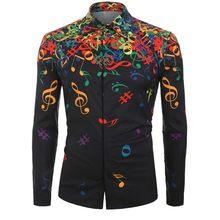 Jesienne męskie koszule Casual Slim w stylu fit streetwear nuta bluza z nadrukiem czarna klapa zapinana męska sukienka z długim rękawem(China)