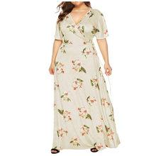 Plus rozmiar damski dekolt w serek druk kwiatowy z krótkim rękawem bandaż duża spódnica długie, plisowane sukienki midi kobiece casual retro vestidos(China)