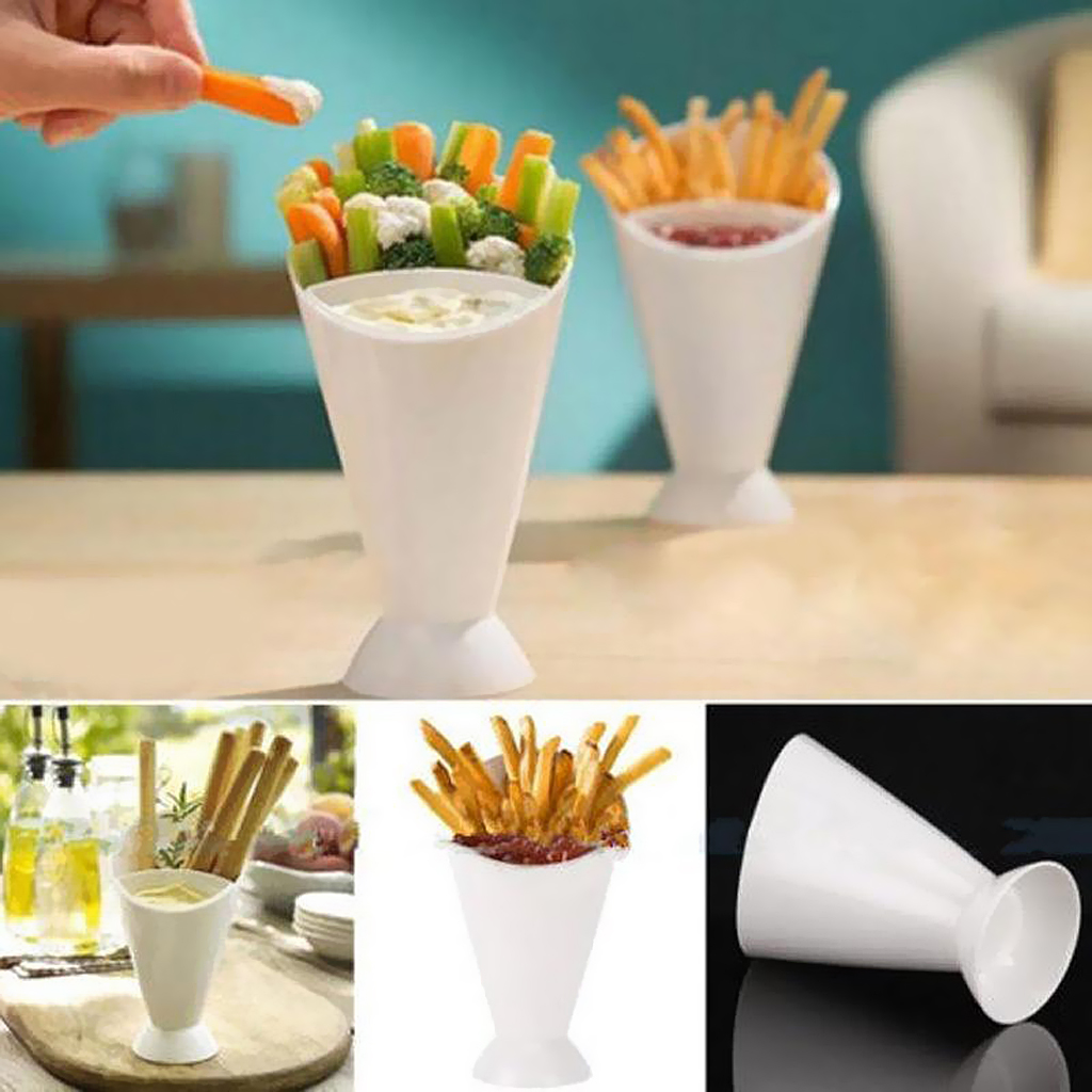 Kitchen Serving Tool Snack Cone Stand + Dip Holder For Chips Finger Food Sauce White