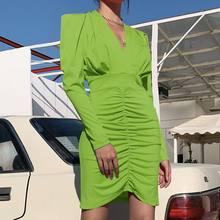 Lipswag セクシーな V ネックパフスリーブ長袖プリーツミディドレスの女(China)