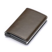 BISI GORO 2020 crédit porte-carte hommes et femmes en métal RFID Vintage boîte en Aluminium cheval fou en cuir PU mode carte portefeuille(China)