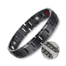 Nouveaux hommes chauds Bracelet de thérapie magnétique classique en acier titane Anti-ronflement soins de santé DC88 Anti ronflement montre-Bracelet sommeil ronflement(China)