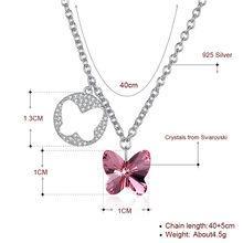 COLOGO 100% 925 Sterling Silver olśniewający kryształ motyl dynda wisiorek Choker naszyjnik dla kobiet dziewczyna biżuteria prezenty LKN0039(China)