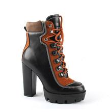SOPHITINA su geçirmez Platform yarım çizmeler moda karışık renkler dantel-up kare topuk ayakkabı kadın bayan işçi siyah kahverengi botları H3(China)