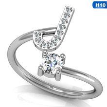 แฟชั่น 26 ตัวอักษรคริสตัลคริสตัลแหวนผู้หญิง Rhinestone(China)