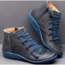Kadın PU deri yarım çizmeler kadın leopar sonbahar kış çapraz Strappy Vintage kadınlar serseri çizmeler düz bayan ayakkabıları kadın Botas(China)