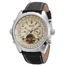 JARAGAR 2019 男性トップの高級ブランド腕時計ブラックレザースポーツトゥールビヨン自動機械式腕時計ギフトボックスレロジオ Releges(China)