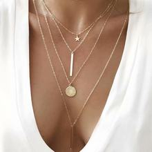 Si moi Vintage multicouche cristal pendentif collier femmes couleur or perles lune étoile corne croissant tour de cou colliers bijoux nouveau(China)