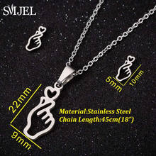 SMJEL Edelstahl Tiny Ballett Gold Schmuck set Kinder Mickey Ohrringe bisuteria Feder Welle Whale Tail Halsketten Collier(China)