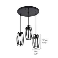 Винтаж 3 головы сочетание черный Кованое железо подвесной светильник E27 220V 110V свет для кухни гостиной спальни коридор, Ресторан(China)