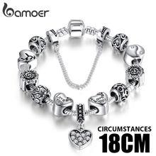 כסף צבע נחש שרשרת קסם צמידים & צמידים עם בטיחות שרשרת & זכוכית חרוזים צמיד לנשים PA1494(China)
