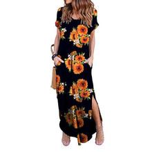 Сексуальное женское платье размера плюс 5XL Лето 2019 однотонное Повседневное платье макси с коротким рукавом для женщин длинное платье Беспл...(China)
