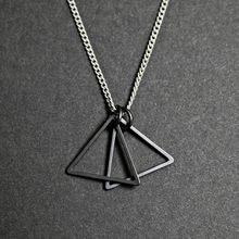 Moda nova simples duplo triângulo pingente colar masculino feminino prata preto cor pingente corrente colar para homem feminino jóias(China)