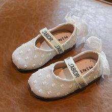 Çocuk Ayakkabı 2019 Sonbahar Çocuklar Pu deri ayakkabı Küçük Kızlar Yeni Tatlı Dantel Papyon Mary Jane Daireler Yürümeye Başlayan Moda Pembe Elbise ayakkabı(China)