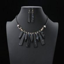 פאנק פופולרי תליית גיאומטרי כיכר אקריליק תכשיטי סטים עבור נשים עור שחור חבל שרשרת עגילי מסיבת חתונה מתנה(China)