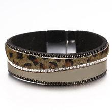 ALLYES czeski skórzana bransoletka dla kobiet biżuteria 2019 moda panie szerokie Boho wielowarstwowe Wrap Leopard bransoletki i Bangles(China)