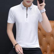 Belbello Nuovo Stile di Modo della gioventù donna Su Misura degli uomini della Camicia Maniche Corte T-Shirt Bavero degli uomini di Sport di Colore Puro Breve maniche(China)