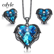 Cdyle מלאך כנפי לב בצורת שרשרת עגילי סט חתונת כלה נשים תכשיטי סטים עם למעלה איכות קריסטל 10 צבע(China)