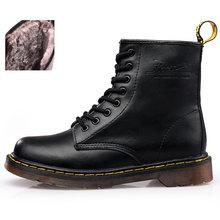 En kaliteli bölünmüş Deri Kadın Bot Marka Kar Botları kış botu Kürk Sıcak Rahat Bayan Ayakkabıları Dr Martins Çift Ayakkabı(China)